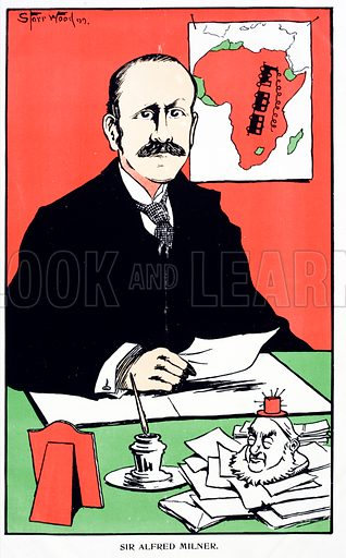 Caricature of Sir Alfred Milner (1854–1925), British colonial Governor of the Cape Colony at the outbreak of the Second Boer War, 1899.