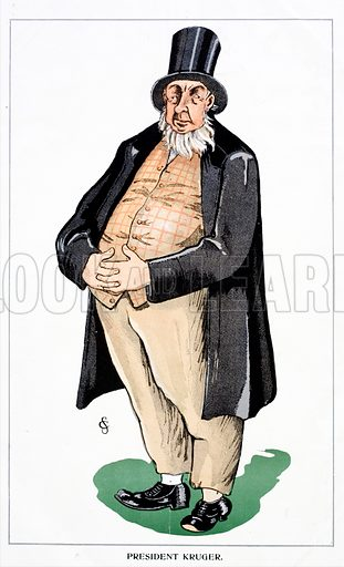 Caricature of Paul Kruger (1825–1904), President of the South African Republic (Transvaal) at the outbreak of the Second Boer War.