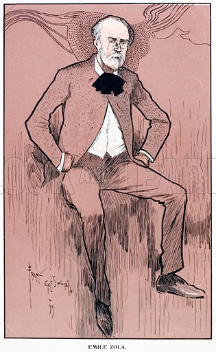 Caricature of Emile Zola (1840–1902), French novelist, playwright and journalist, 1899.