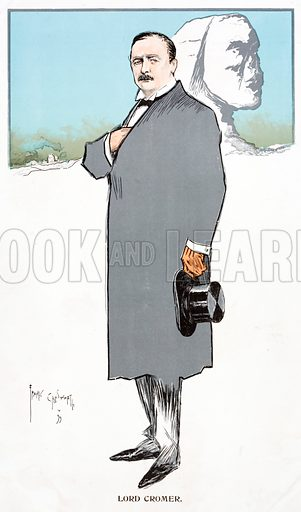 Caricature of Evelyn Baring, 1st Earl of Cromer (1841-1917), British politician and colonial administrator, Consul-General of Egypt.