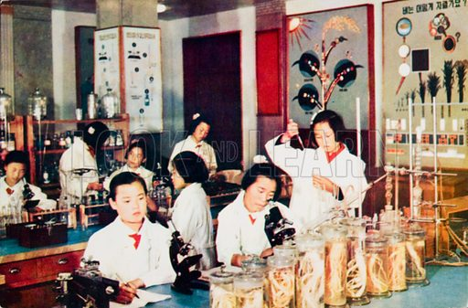 Science class in a girls' school in North Korea.