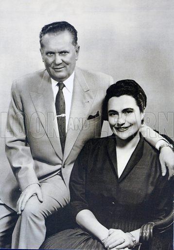 Yugoslav President Marshal Josip Broz Tito (1892–1980) and his third wife Jovanka (1924–2013), c1960.