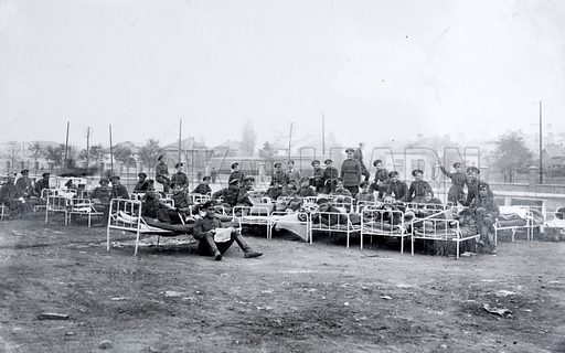Bulgarian soldiers relaxing on hospital beds, World War I, 1915–1918.