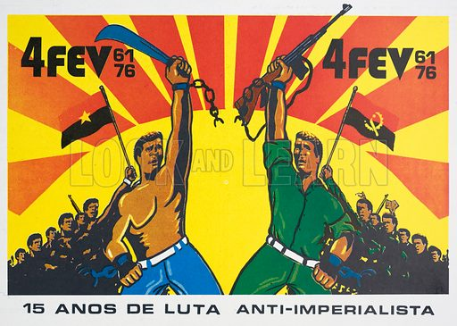 Propaganda poster issued by the MPLA (People's Movement for the Liberation of Angola) celebrating victory in the war against Portuguese colonial rule.
