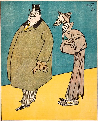Caricature showing Aleksandar Stamboliyski, Prime Minister of Bulgaria, being stalked by Death, representing famine after the First World War, 1920.
