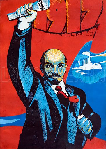 Artwork for a Soviet propaganda poster depicting Bolshevik leader Vladimir Lenin holding a copy of the Communist Party newspaper Pravda, with the cruiser Aurora, which fired the shot triggering the start of the October Revolution, in the background.