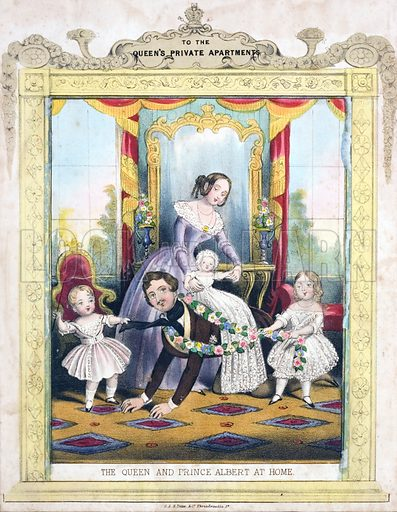 Queen Victoria and Prince Albert at home with their children.