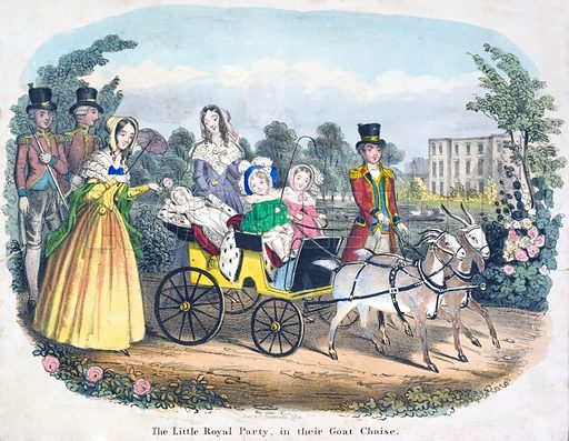 Three of Queen Victoria's children riding in carriage pulled by goats.