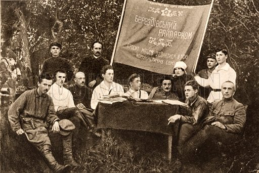 Soviet Realist author Nikolai Ostrovsky (left) (1904-1936) with members of the Communist Party in Ukraine, USSR, 1923.