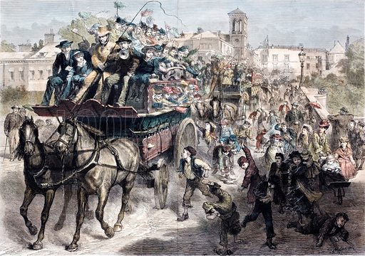 Packed coaches taking Londoners for a day out in the country in Victorian times. Illustration from The Graphic, 1877.