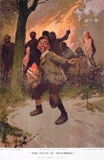 The Fifth of November, excited boy on Bonfire Night. Illustration from The Boy's Own Paper, c1900.