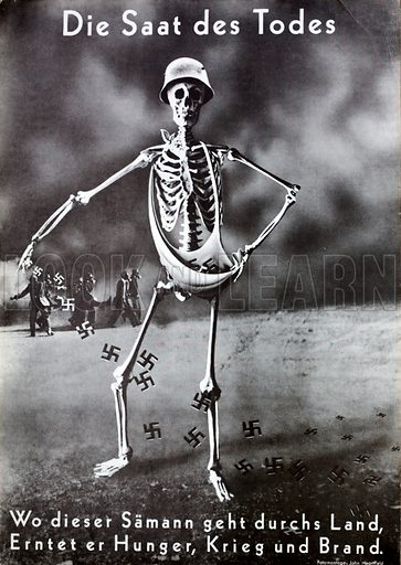 The Seeds of Death, anti-Nazi propaganda depicting a skeleton sowing swastikas, the seeds of hunger, war and fire, 1937.