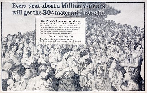 British card promoting maternity benefit paid for by National Insurance introduced by Liberal Chancellor of the Exchequer David Lloyd George.
