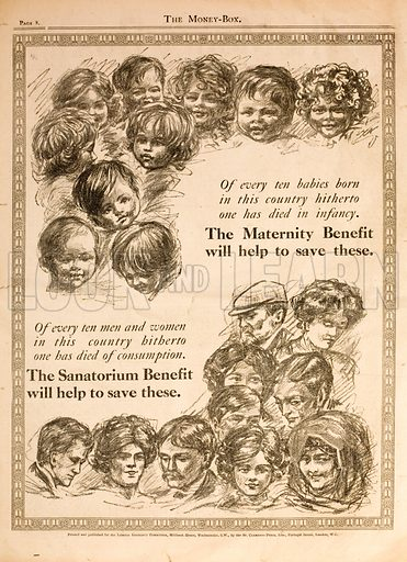 Advertisement promoting benefits paid for by National Insurance introduced by Liberal Chancellor of the Exchequer David Lloyd George.