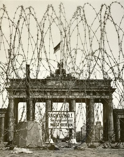Barbed wire in front of the Brandenburg Gate, Berlin, Germany, during the Allied occupation of the city after World War II.