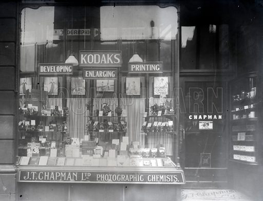 Shop window of JT Chapman Ltd, photograpgic chemists.