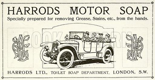 Advertisement for Harrods motor soap