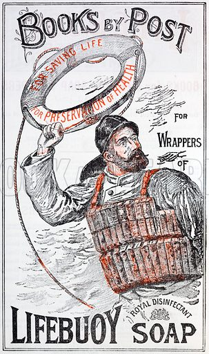 Advertisement for books by post in return for collecting wrappers of Lifebuoy soap.