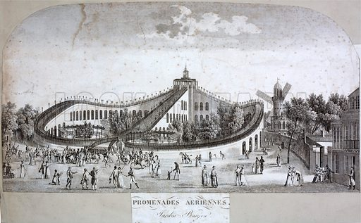 Promenades Aeriennes, roller coaster built in the Jardin Baujon in Paris in 1817.