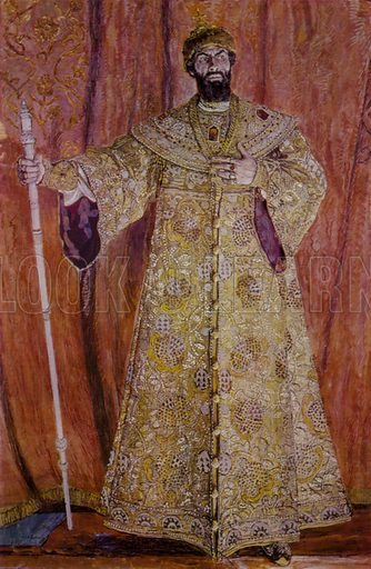 Russian opera singer Feodor Chaliapin in the title role in Modest Mussorgsky's opera Boris Godunov, 1912.