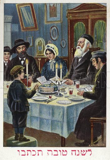 Jews celebrating the feast of Passover, Jewish New Year greetings card, 1930.