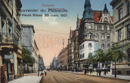 Street in Katowice, Poland, souvenir postcard commemorating the plebiscite in Upper Silesia held on 20 March 1921 to determine part of the border between Poland and Germany. Katowice, formerly known by its German name of Kattowitz, opted to become Polish.