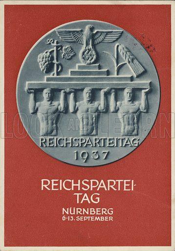 Nuremberg Rally Germany, 1937, Nazi propaganda postcard.