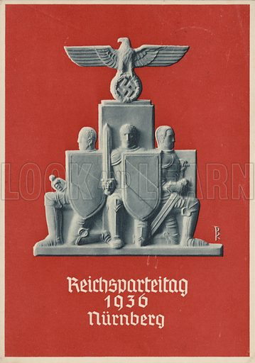 Nuremberg Rally Germany, 1936, Nazi propaganda postcard.