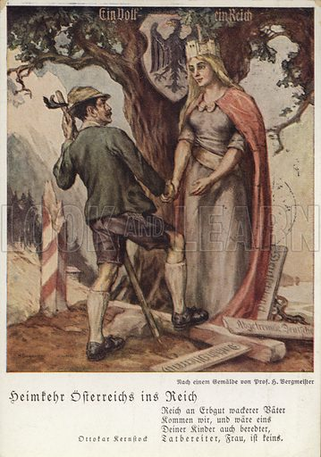 The homecoming of Austria into the Reich, the Anschluss of Nazi Germany and Austria, propaganda postcard, 1938.