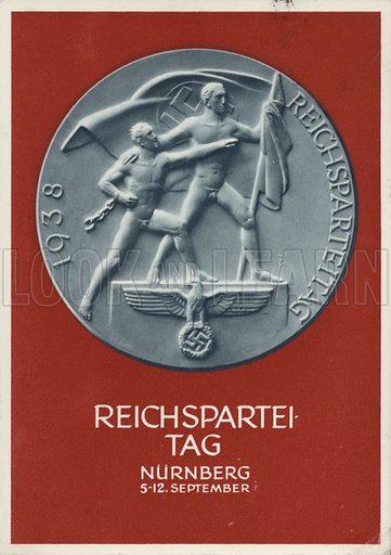 Nuremberg Rally Germany, 1938, Nazi propaganda postcard.