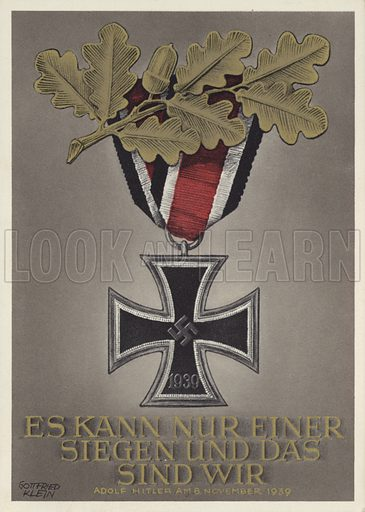 Iron Cross and oak leaves, Nazi German propaganda postcard, 1939.
