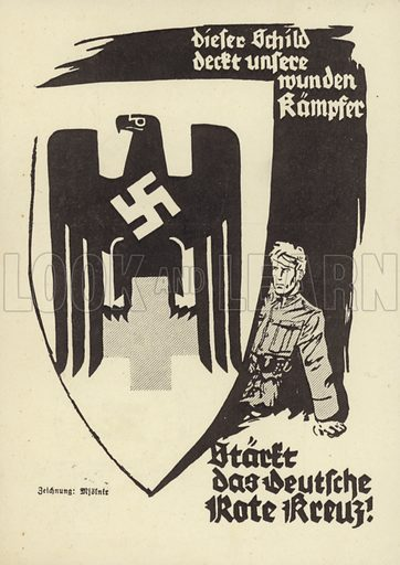 Nazi propaganda issued by the Kraft durch Freude (Strength through Joy) organisation in support of the work of the German Red Cross in caring for wounded soldiers.