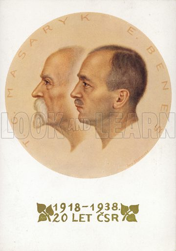 Card celebrating 20 years of Czechoslovakian independence under Tomas Masaryk and Edvard Benes, 1918–1938.