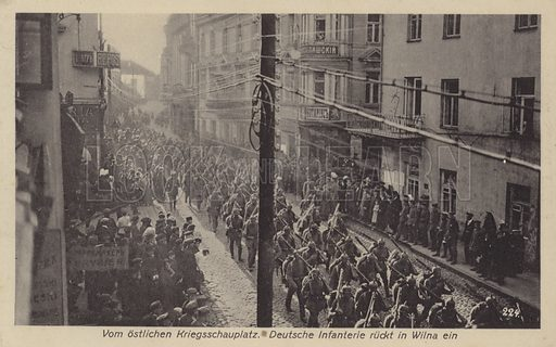 Occupation of Vilnius, Lithuania, by German troops during World War I, 1915.