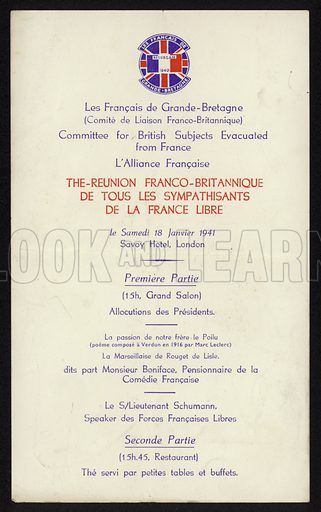 Programme of a meeting of organisations supporting the liberation of France from Nazi occupation, Savoy Hotel, London, World War II, 18 January 1941.