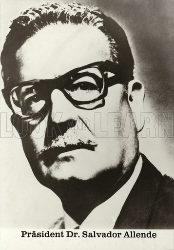 Salvador Allende (1908–1973), Chilean politician and president overthrown by a military coup d'etat in 1973.