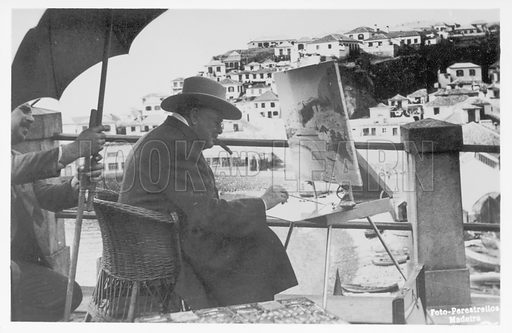 British politician and Prime Minister Winston Churchill painting in Madeira.