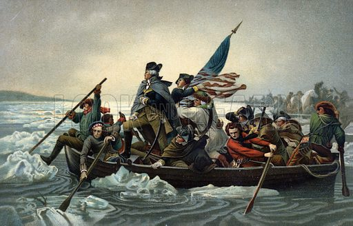 George Washington crossing the Delaware during the American War of Independence, 25 December 1776.
