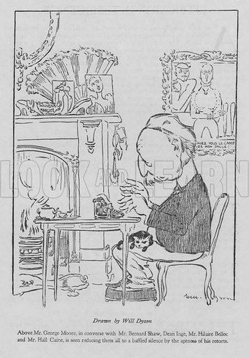 George Moore (1852-1933), Irish author, working at his typewriter.
