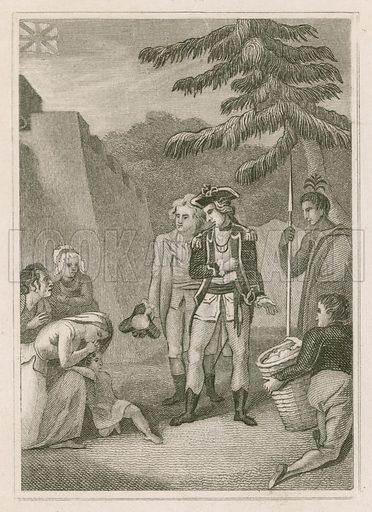 The Humanity of General Amherst. British General Jeffrey Amherst with captives during the French and Indian War in North America. Illustration from The History of England, by Oliver Goldsmith, Mr Morell, the Reverend Isaac Sloper and Thomas Bartlett (George Virtue, London, 1837).