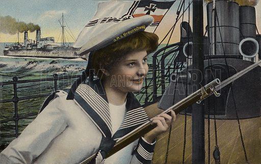 Woman in the uniform of a sailor from the German battleship Braunschweig.