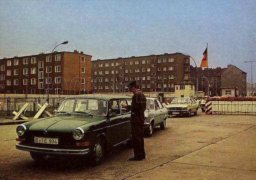 According to the Arrangement between the Government of the German Democratic Republic and the Senate of West Berlin visitors from West Berlin enter the capital of the GDR at the border crossing points. East German propaganda photo.