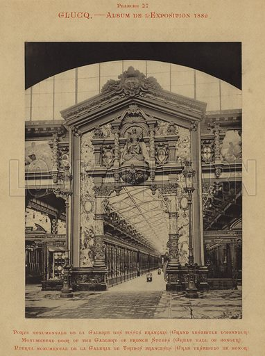 Monumental door of the gallery of French stuffs, Great Hall of Honour. Porte Monumentale de la Galerie des Tissus Francais, Grand Vestibule d'Honneur. Illustration for Glucq's L'Album de L'Exposition 1889 (Char Gaulon).