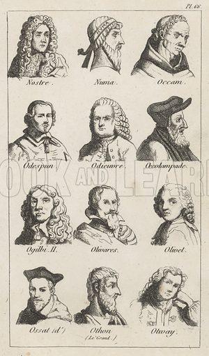 Assorted portraits. Illustration for Dictionnaire Biographique et Bibliographique (nd).