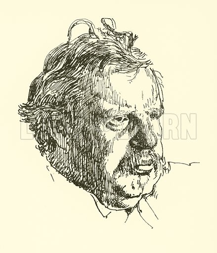G K Chesterton. Illustration for Fifty Heads drawn by Powys Evans (Sheed & Ward, c 1930).