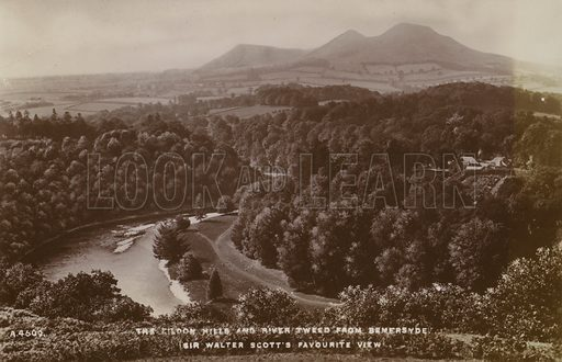The Eildon Hills and River Tweed from Bemersyde, the favourite view of Scottish author Sir Walter Scott.