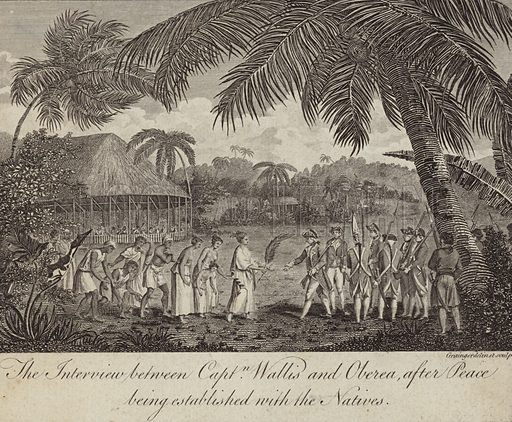 Tahitian Queen Oberea making peace with the British commanded by Captain Samuel Wallis, 1767.