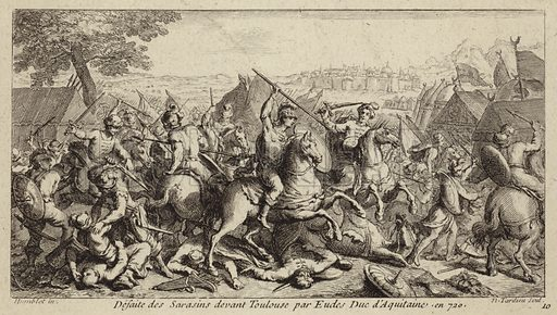 Odo, Duke of Aquitaine, defeating the Umayyads at the Battle of Toulouse, 721.