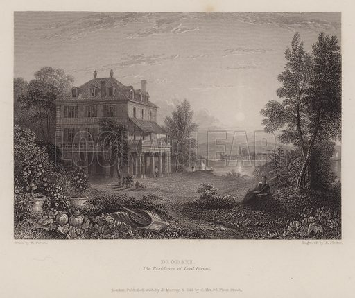 Villa Diodati, the residence of Lord Byron. After a drawing by W Purser.