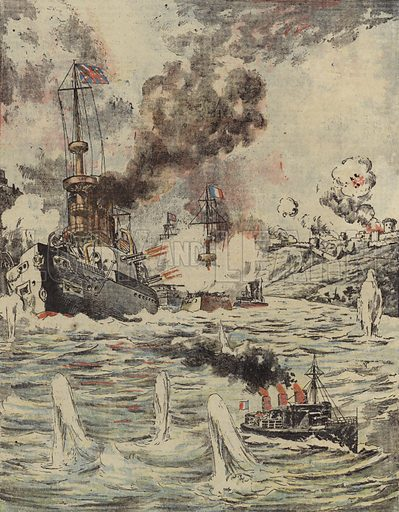British and French warships bombarding Turkish positions in the Dardanelles, 1915.